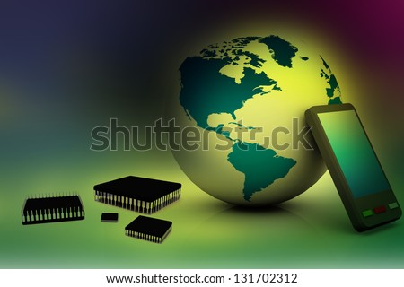 global business and modern global technology - stock photo