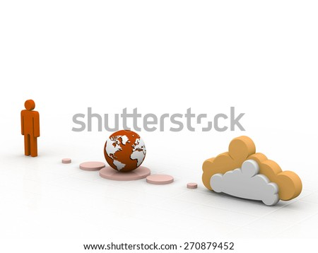 Global business cloud network - stock photo