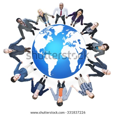 Global Business Connection Cartography World Concept - stock photo