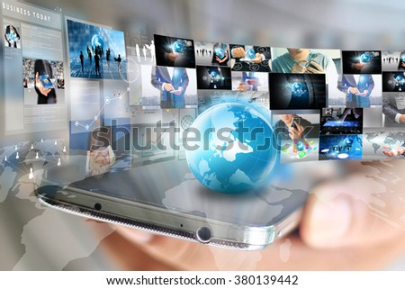 Global business connection. Social network concept - stock photo