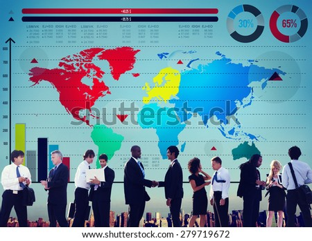 Global Business Graph Growth World Map Concept - stock photo