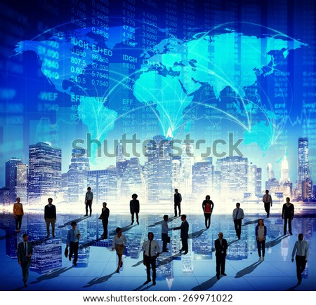 Global Business Group of People Building Finance Teamwork Stock Exchange Concept - stock photo