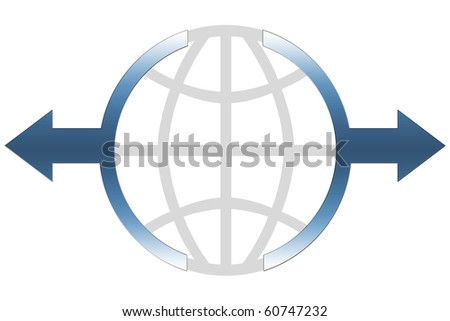 Global Business Icon Concept - blue color - stock photo