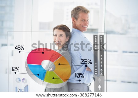 Global business interface against smiling businesswoman back-to-back with colleague - stock photo