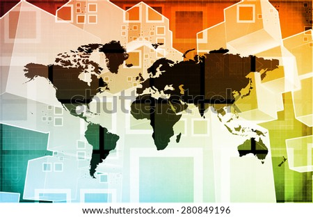 Global Business Logistics Software and Support Art - stock photo