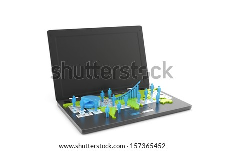 Global business network and business graph on laptop - stock photo