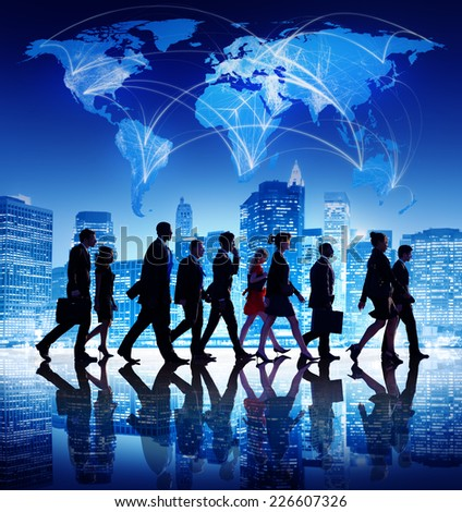 Global Business People Corporate Walking City Concept - stock photo