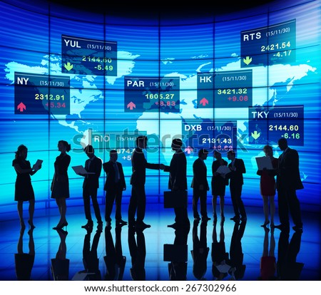 Global Business People Discussion Stock Market Concept - stock photo
