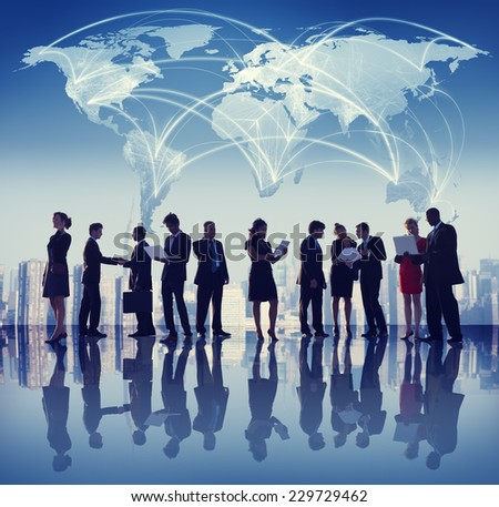 Global Business People Meeting Working City Concept - stock photo