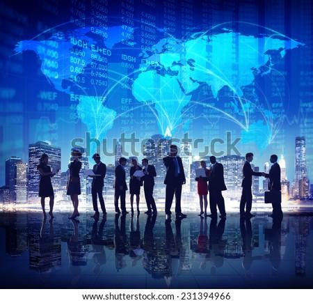 Global Business People Stock Exchange Finance City Concept - stock photo