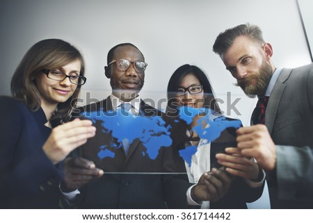 Global Business People Team Working World Map Concept - stock photo