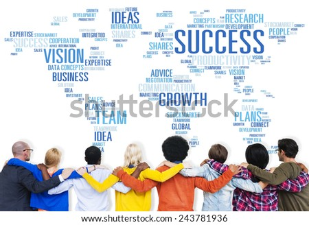 Global Business People Togetherness Rear View Success Concept - stock photo