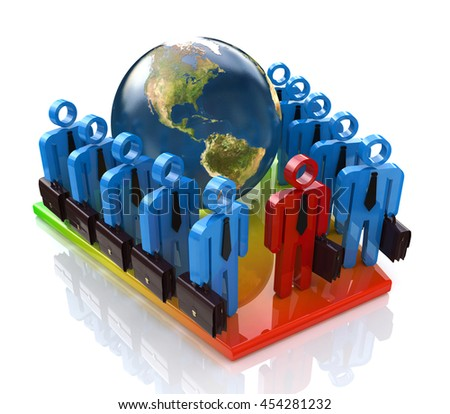 Global business team at registration information related to the world and people. 3d illustration - stock photo