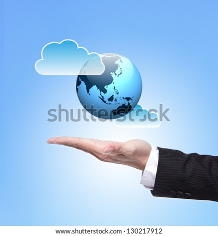 Global cloud computing concept , above hand - stock photo