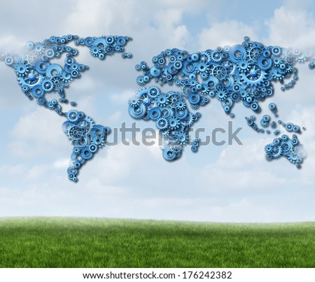 Global Cloud technology business concept with a group of gears and cogs in a network shaped as a map of the world as a symbol of wireless data technologies server storage and the worldwide internet. - stock photo