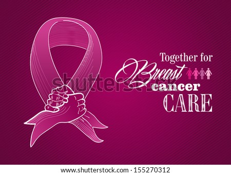 Global collaboration breast cancer awareness concept illustration. Human hands together creating a ribbon symbol. - stock photo