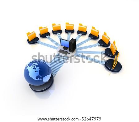 global communication computer network - stock photo