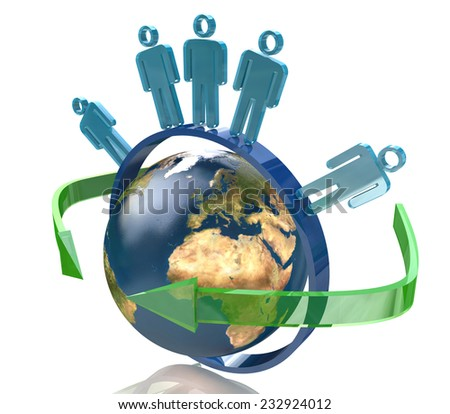 Global communication - Earth and people - Elements of this image furnished by NASA - stock photo