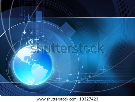 Global communication illustration with technical elements. - stock photo