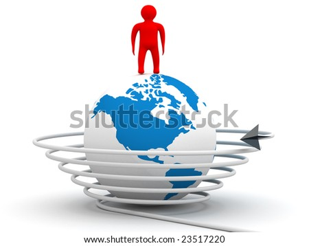 Global communication in the world. 3D image. - stock photo