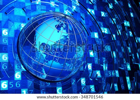 Global communication, internet and computer technology concept, Earth globe on abstract blue background with digital code (Elements of this image furnished by NASA) - stock photo