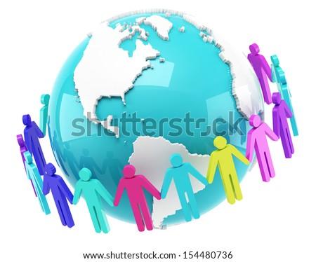 Global communication on the white background - stock photo