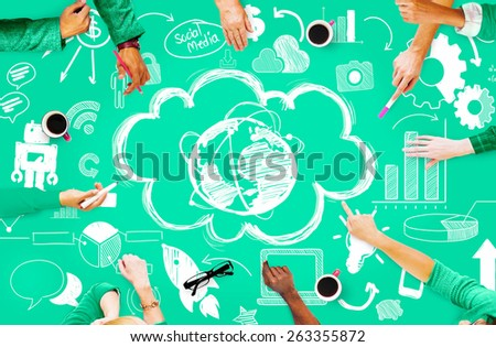 Global Communication Technology Connection Social Network Concept - stock photo