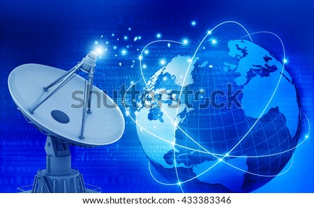 Global communication technology with satellite dish. Technology background. 3d illustration