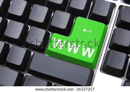 global communication with www or internet button - stock photo