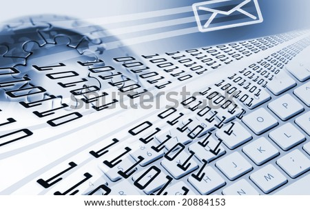 global communications composition with globe and keyboard - stock photo