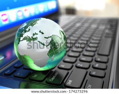 Global communications. Earth on laptop keyboard. 3d.
