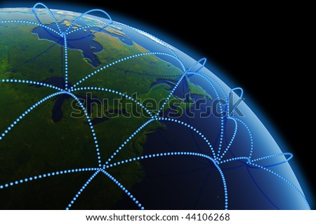 Global communications. Hi-res digitally generated image. - stock photo