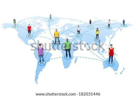 Global Communications: People On World Map - stock photo