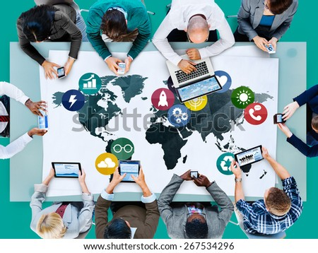 Global Communications Social Networking Connection Concept - stock photo