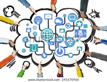Global Communications Social Networking Connection Internet Online Concept - stock photo
