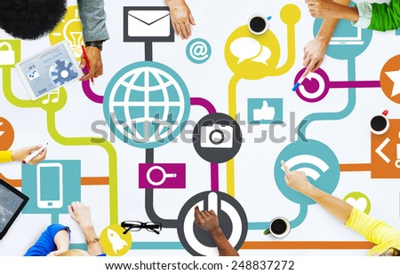 Global Communications Social Networking People Meeting Online Concept - stock photo