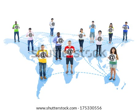 Global Communications with People Holding Internet Theme - stock photo