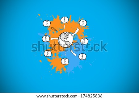 Global community concept on paint splashes against blue background with vignette