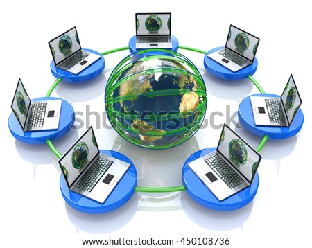 Global computer Network in the design of information related to internet. 3d illustration - stock photo