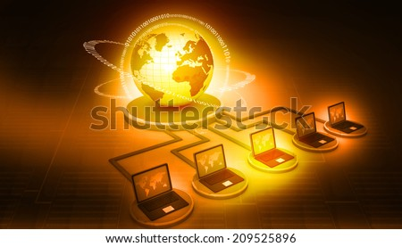 global computer network on digital background - stock photo