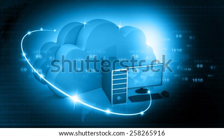 Global Computer network  with cloud computing 	 - stock photo