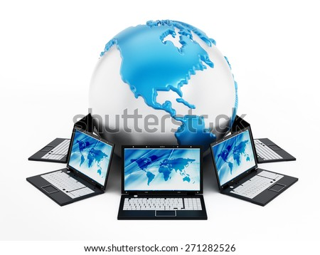 Global computer network with laptop computers around the globe - stock photo
