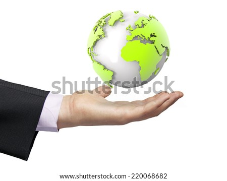 global concept: earth render focused on europe and afrika over a businessman hand - stock photo