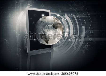 Global connection concept with tablet pc and digital Earth planet - stock photo