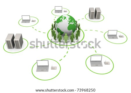 Global connection. White isolated 3d render - stock photo