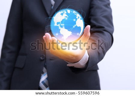 Global connection with digital planet in hand and orange light, Future technologies concept