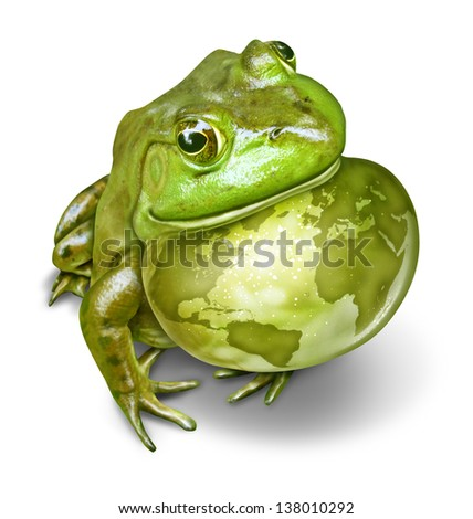 Global conservation and environmental protection symbol as a green frog and an inflated throat with the world map as a birth mark on the amphibian skin as a concept of protecting habitats. - stock photo