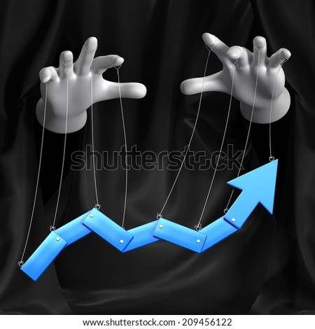 Global conspiracy in the business. Conceptual illustration. Arrow move - stock photo