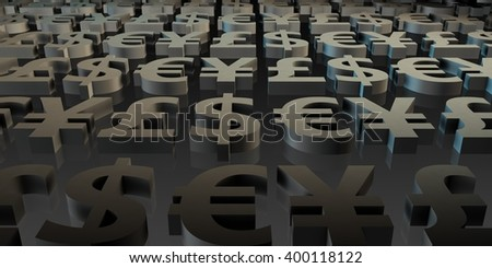 Global Currencies and Money Symbols in 3d Art - stock photo
