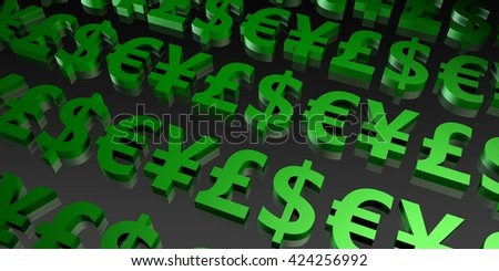 Global Currencies and Money Symbols in 3d Art 3d Illustration Render - stock photo